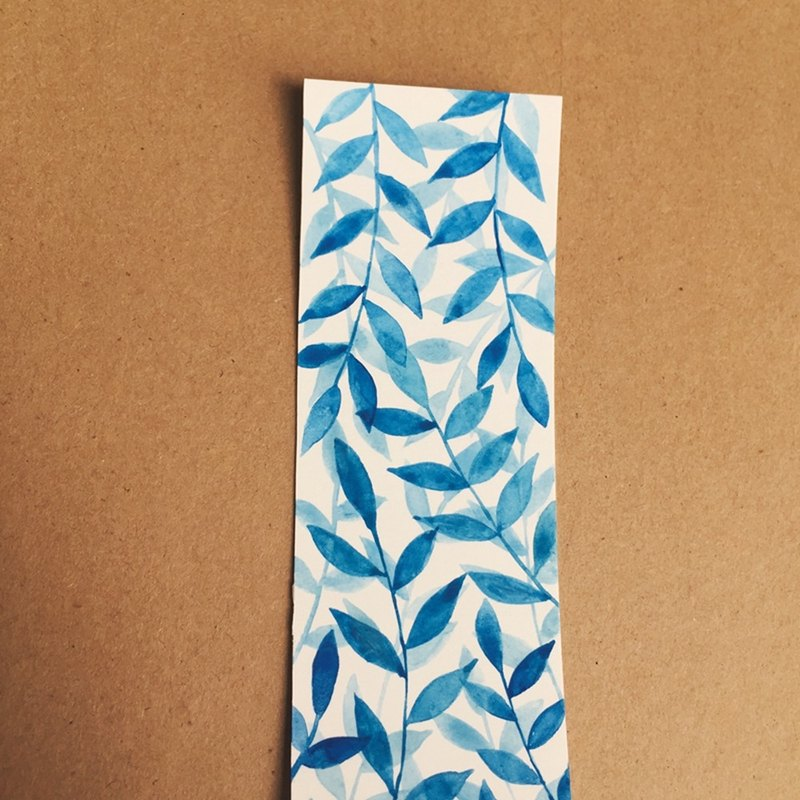 Cute minimalist blue leaves hand painted watercolor bookmarks original painting non-print gift