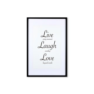 HomePlus Decorative Frame - Cursive Quote LiveLaughLove - Black 63x43cm Homedecor