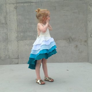 Girls Flamenco Party Dress in Aqua Blue Ombré 3-6 Years