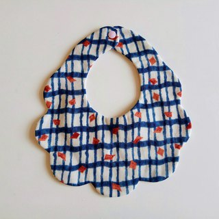Japanese cotton gauze blue grid cotton yarn bib bimonthly gift bib baby bibs baby bibs saliva towel six-layer yarn eight-layer yarn