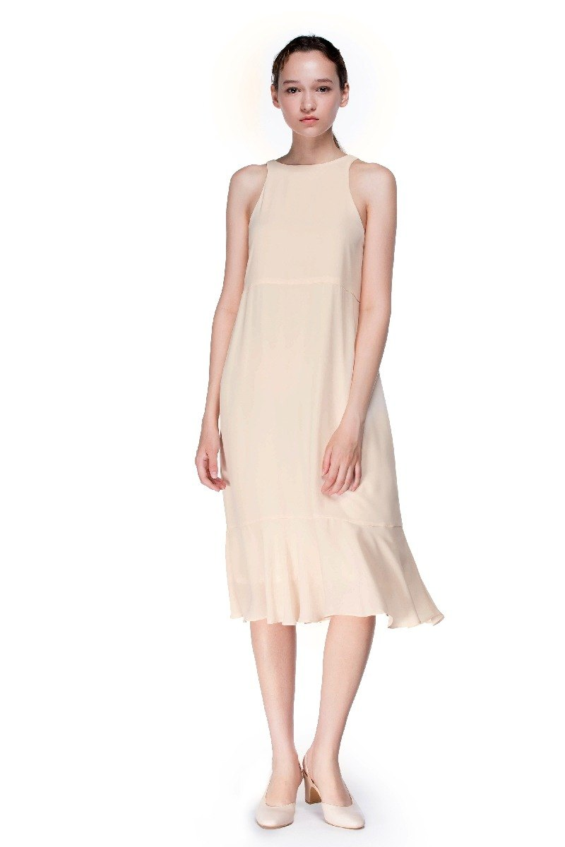Gentle Glow Long Flounced Dress in Light Beige