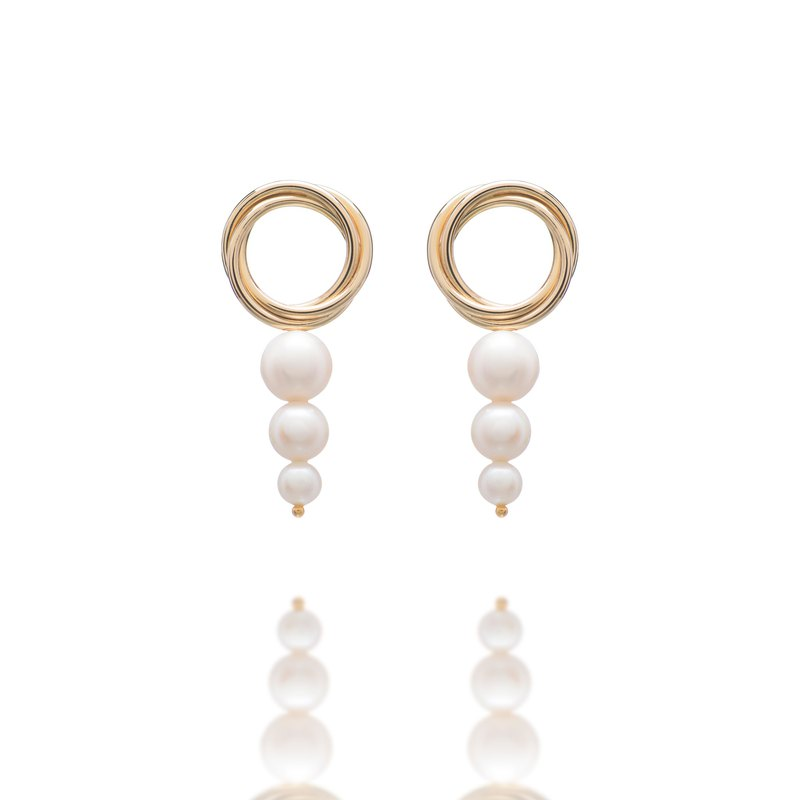 Pearl earrings ferrule ring gold Christmas gift Christmas gift provides free change ear clip service