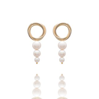 Spiral Pearl Earrings, Metal Ring, Pearl Gold, Free Change Ear Clips