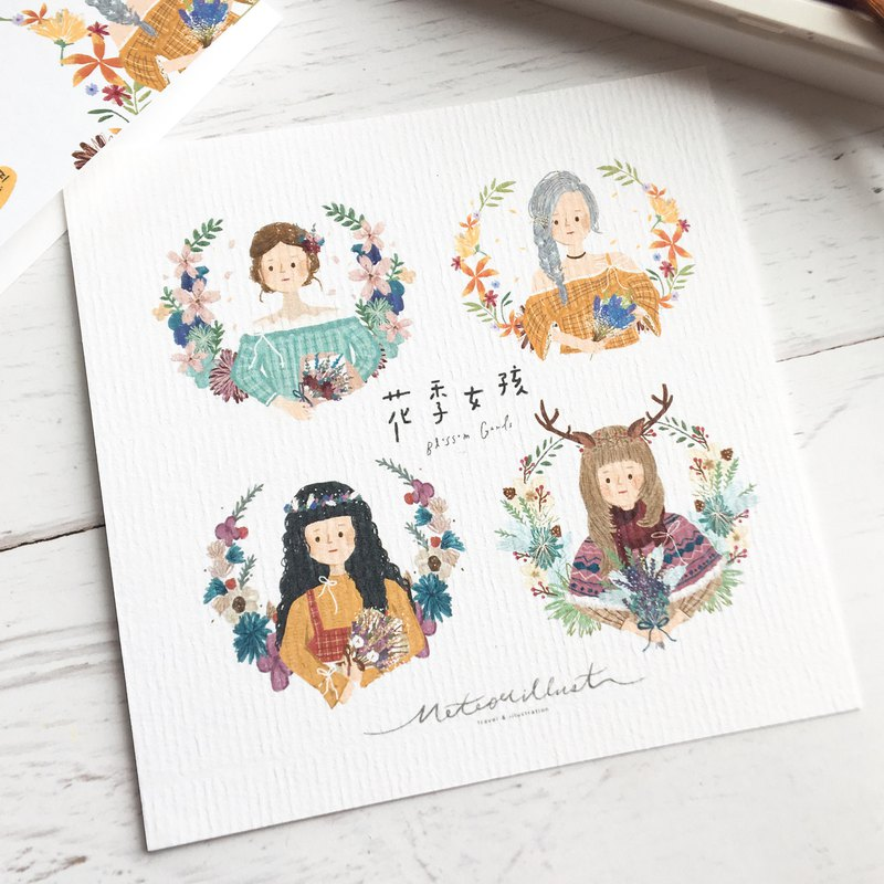 Illustration Postcard / Flower Girl - Girls Collection [Meteorillst]