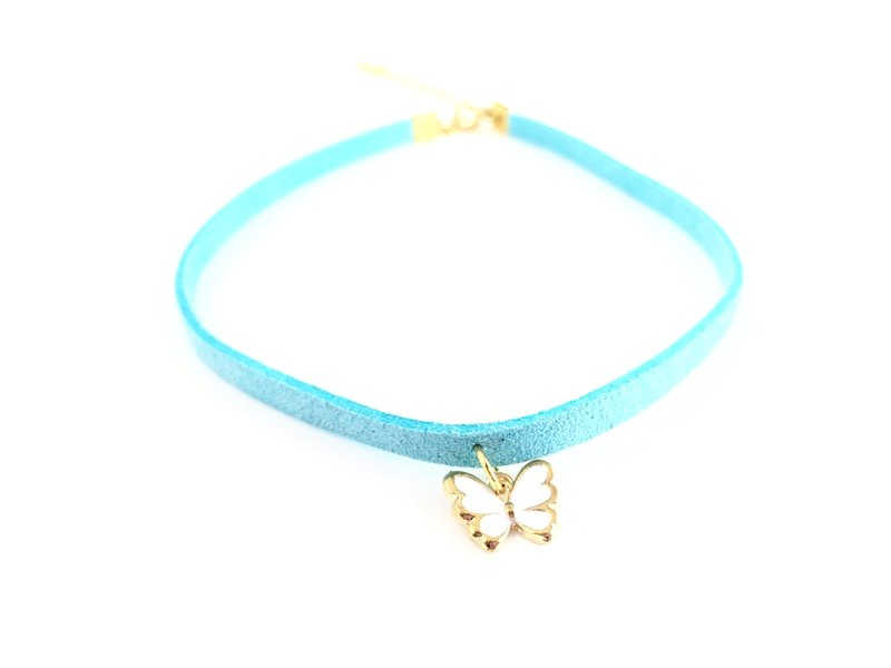 """Light Blue Butterfly Necklace"""