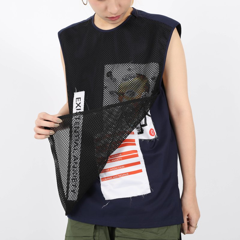 Double-layer pattern vest (saky)