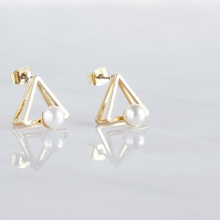 Glossy Gold Triangle Pearl Stud Earrings