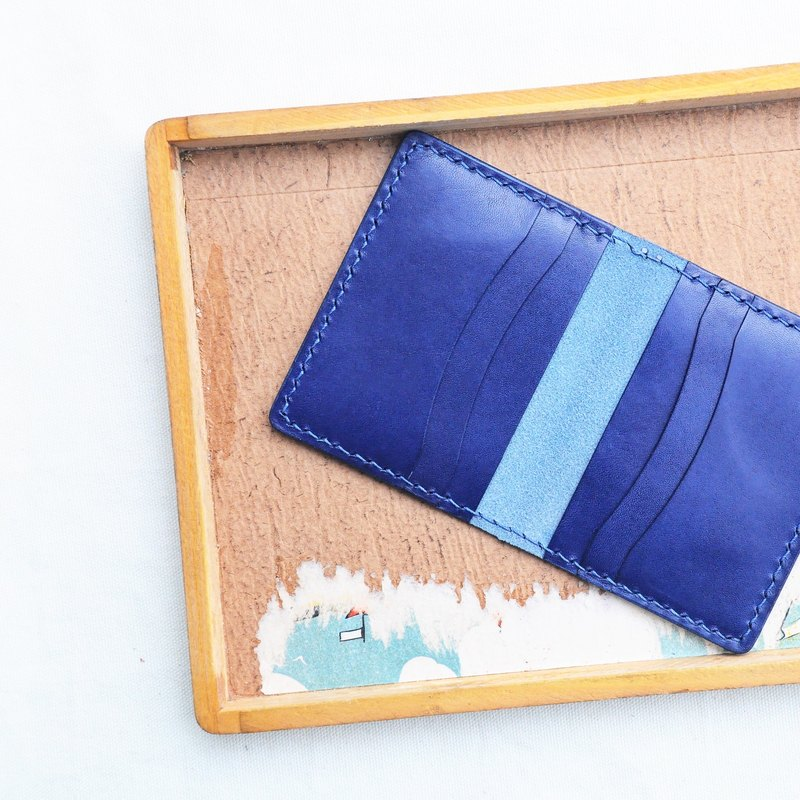[6-Card Holder Card Holder - Dark Blue | Cielo] Handle Leather Bag Free Pressing Handmade Card Holder Card Holder Card Holder Card Holder Simple & Practical Italian Leather Vegetable Leather Leather DIY Card Holder Card Holder