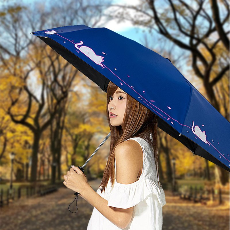 Ssangyong cat cools 13 degrees forest super lightweight automatic umbrella (black plastic automatic open umbrella lightweight umbrella)