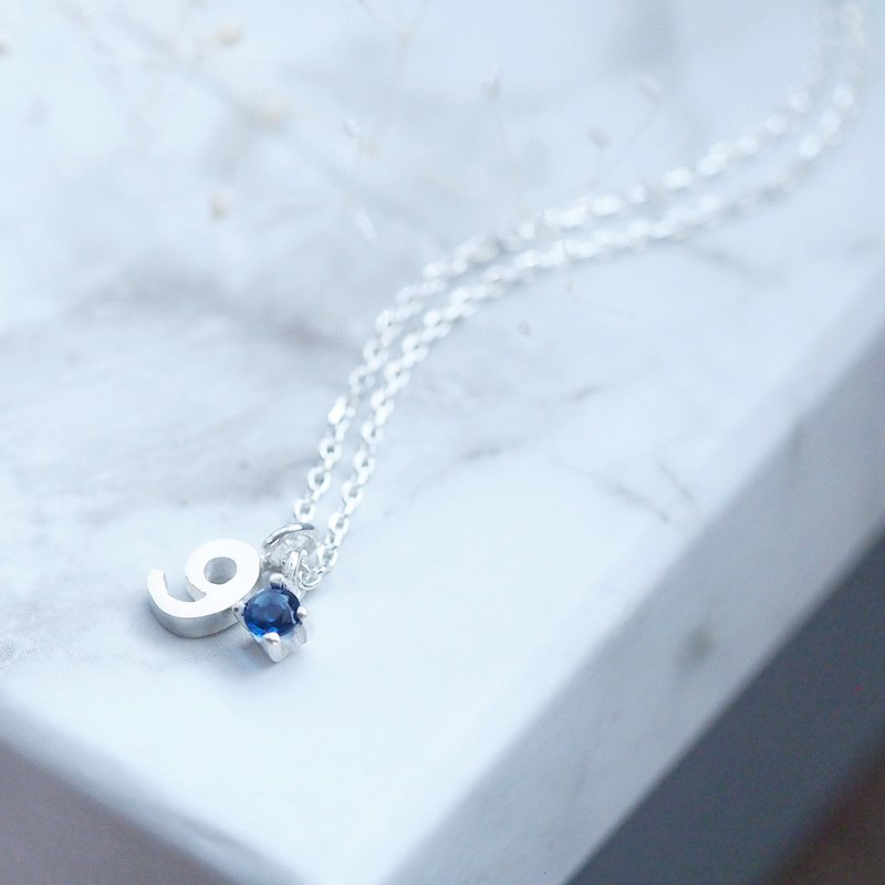 Number & September Birthstone Sapphire Necklace Silver 925