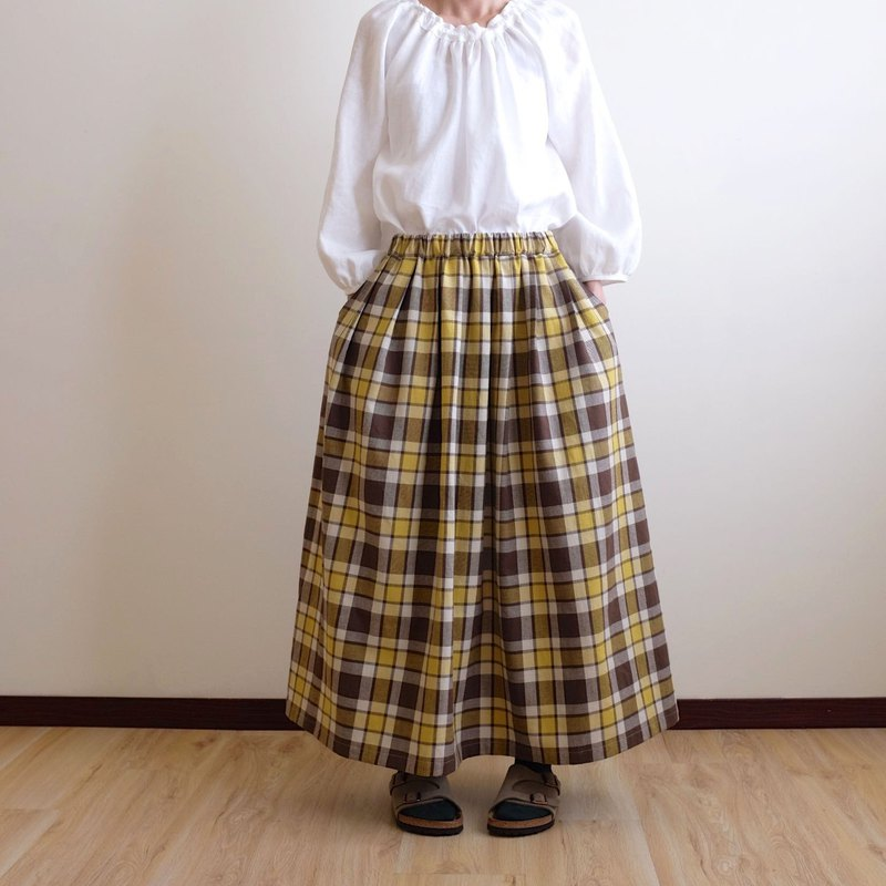 Daily Handmade Clothes Natural Forest Brown Mustard Large Plaid Pleated Long Skirt Cotton Cotton