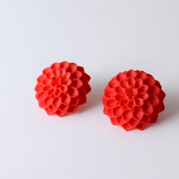 dahlia red earrings