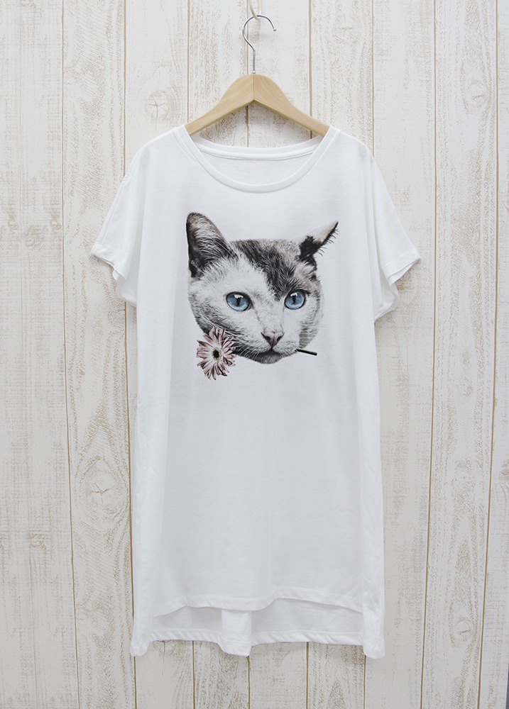 ronronCAT one-piece dress Tee Here you go white / R028-O-WH