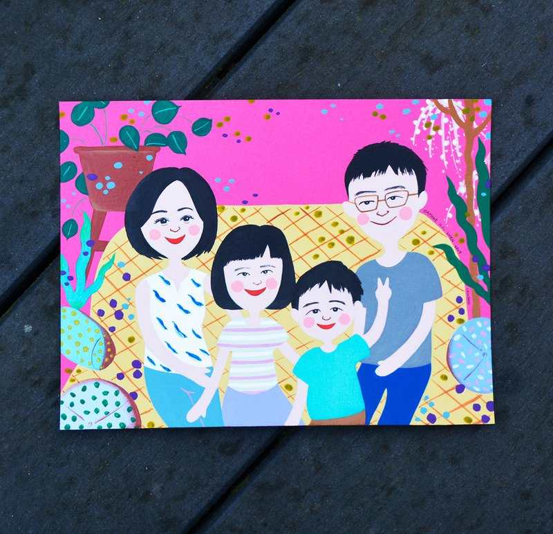 Cute Custom Family Portrait-4 People Parent Portrait Birthday / Family Portrait / Marriage / Christmas / Mother's Day