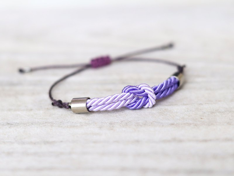 Tiny tie the knot rope bracelet Lilac / Bright purple