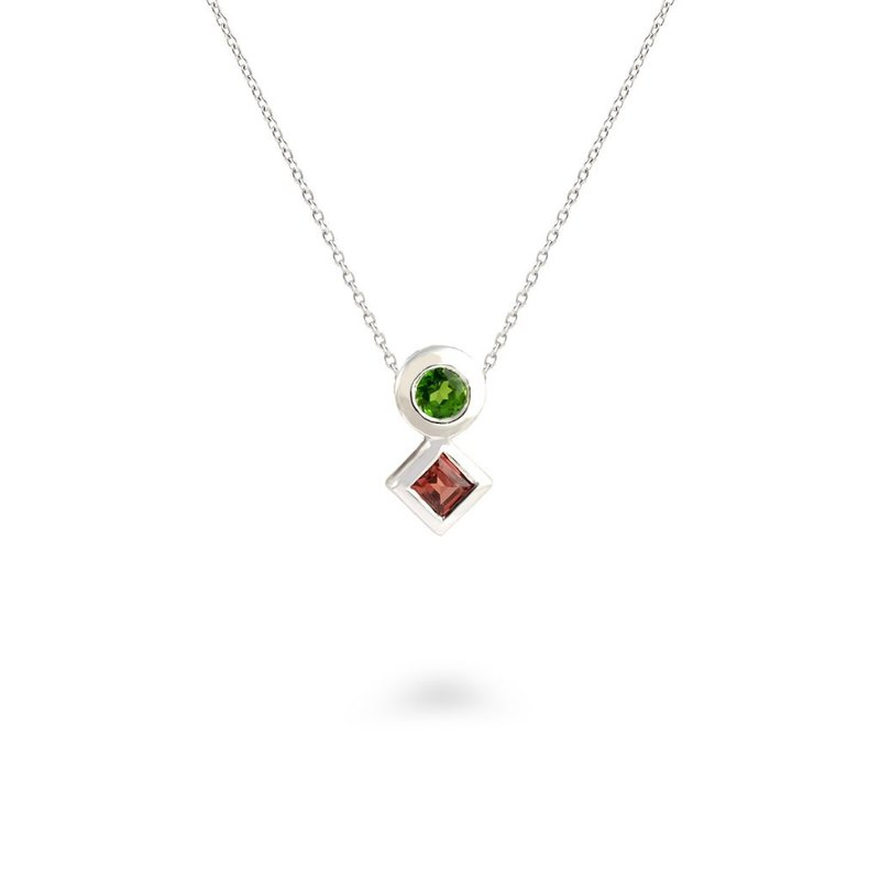 Urban Square and Round Pendant with Chrome Diopside and Red Garnet