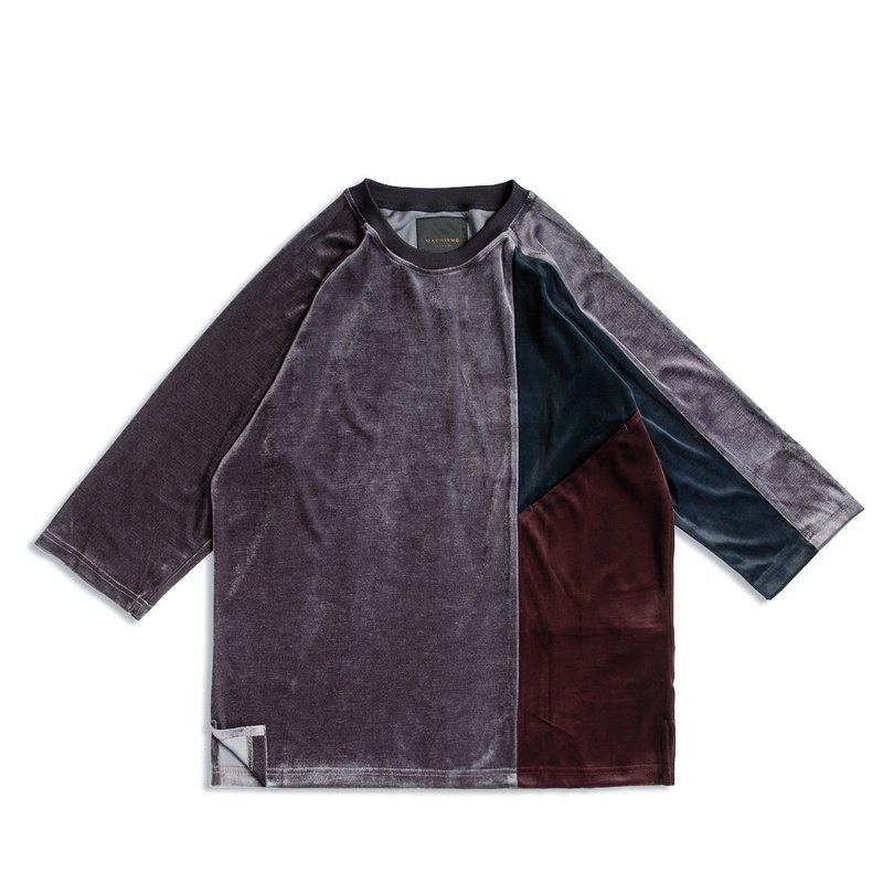 絲絨三色剪接七分袖T恤 / 昏灰色