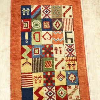 Hand-woven Turkish carpet new Design Point Rug 86 x 56 cm Orange