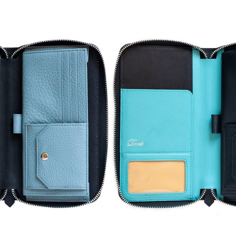 真皮手工訂製 雙護照 拉鍊護照夾 免費壓字