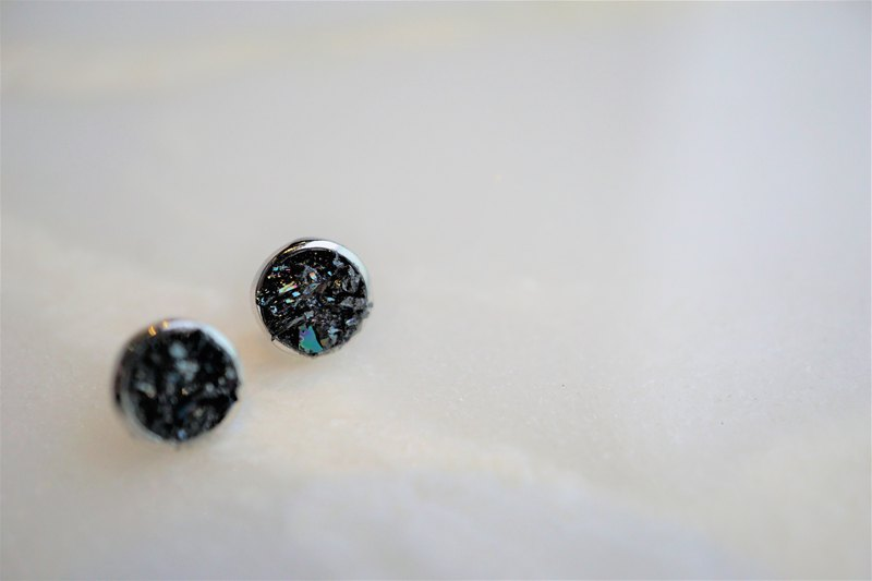 Crushed Hematite 925 Silver Earrings