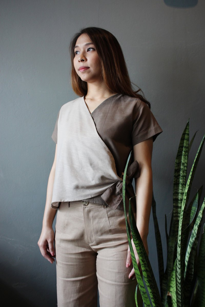 Pudd : sand/beige wrapped cotton top