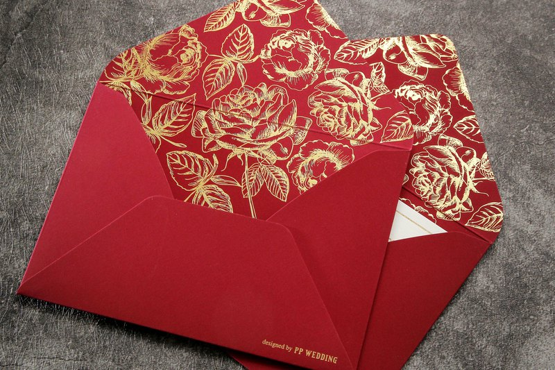 Cartier wine red wedding invitation envelope PP original