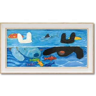 """Lisa and Casper"" horizontal frame copy painting - swimming pool play"