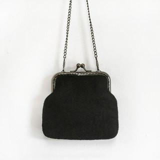 Black Woolen Blanket / Coin Purse