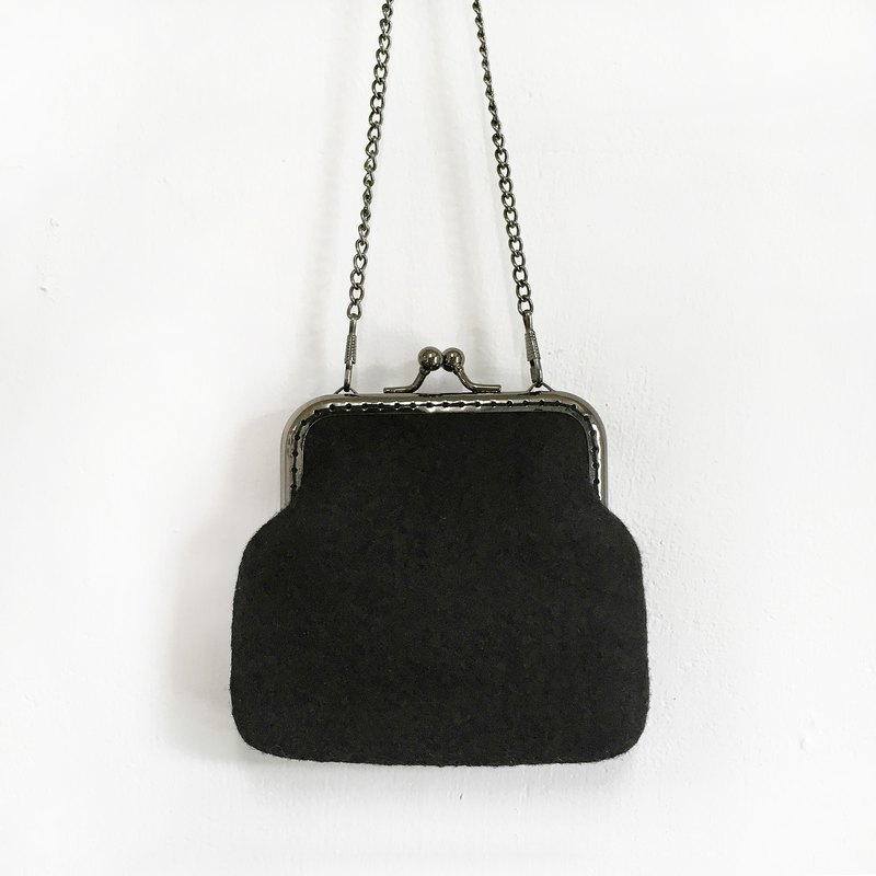 Black wool felt gold bag / purse