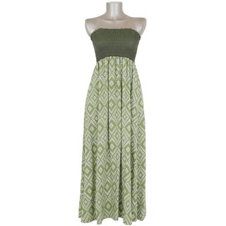 Ikat print tube top long dress <green>
