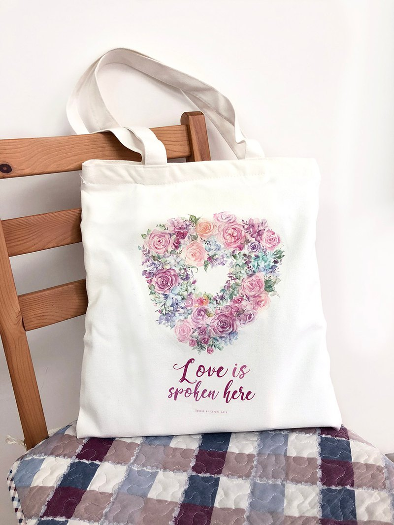 Tote bag with zipper & inner pocket - Love is spoken here