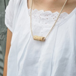 【 Macramé x Guava wood Collection 】Necklace │ Creamy White