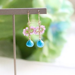 Original turquoise & pink sapphire flower branches earrings ear can be September / December birthstone