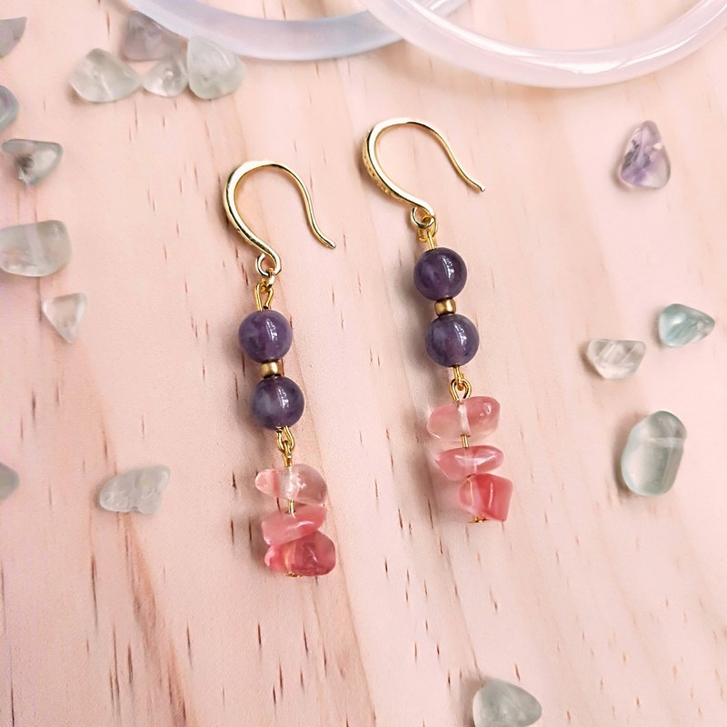 J008- natural stone bead string earrings watermelon red crystal amethyst
