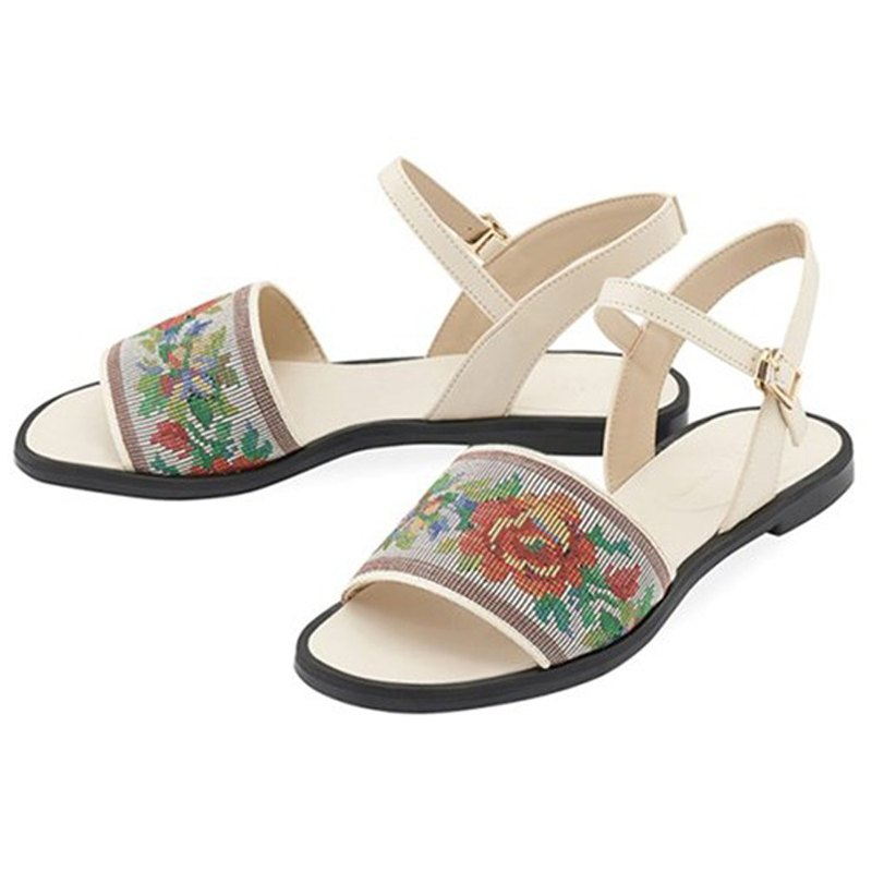 SPUR Ethnic bloom sandals OS9070 IVORY