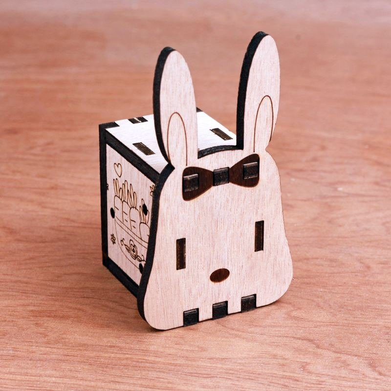 KOKOMU Rabbit DIY Music Box Kits. Wooden Music Box for her.