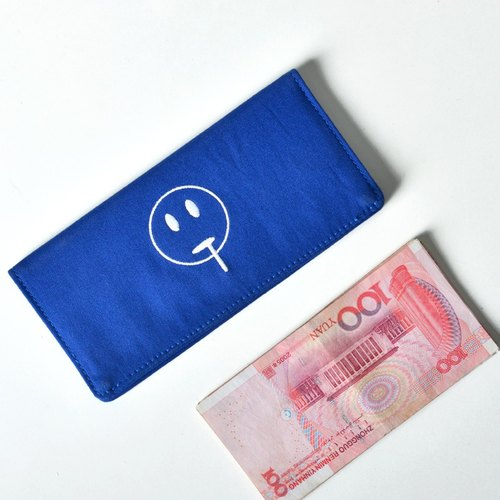 kiitos life-funny series canvas fold Long Wallet - Blue greedy money fast arrival # #