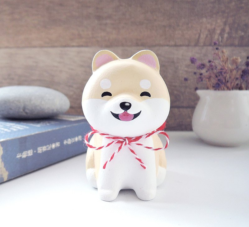 Smiling cute little Shiba Inu doll pen holder paper ballast handmade wooden healing small wood carving