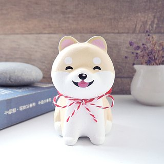 Laughing, sitting, good, cute, small Shiba, pen holder, paper town decoration, handmade wooden healing, small wood carving