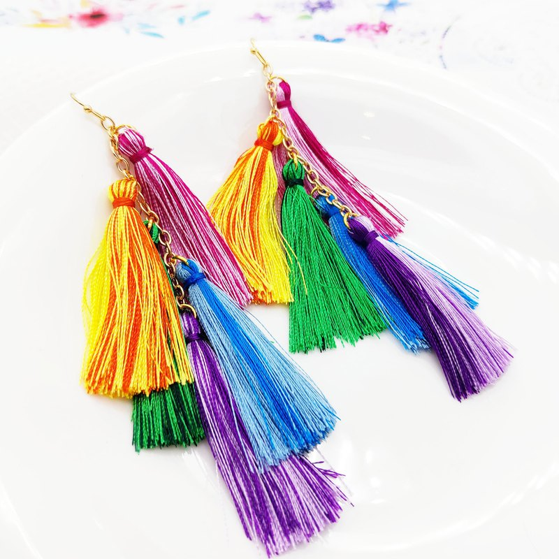 INFINITY big thousand fashion classical rainbow comrade ice silk tassel earrings / clip gift lover