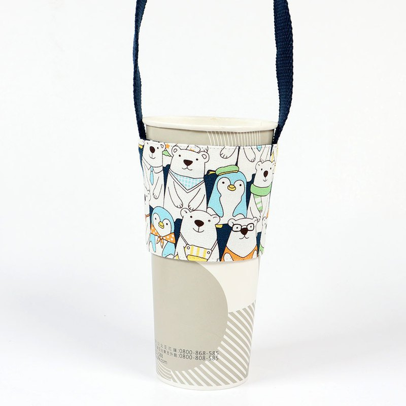 飲料杯套 環保杯套 提袋- 企鵝熊熊家族 (藍)