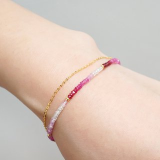 July Birthstone Gradient Double Bracelet VISHI Timeless Fine Natural Ruby 18k Yellow Gold Simple