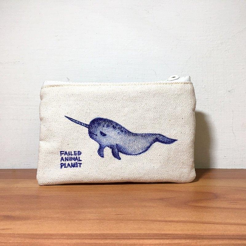 Coin purse hand drawn illustration narwhal