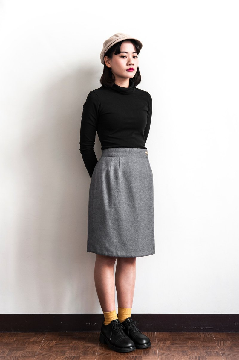 Vintage Gray Plaid double-sided vintage wool skirt