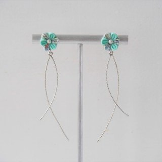 Mint Green Flower Sleek Wave Earrings Clip-on 14KGF,S925 custom