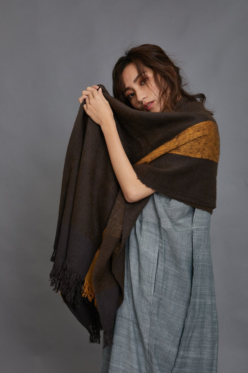 winter night yak shawl-yellow and brown-fair trade