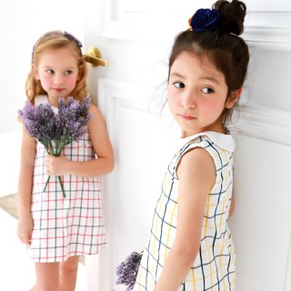Windowpane A-Line Dress (infant/toddler/girl)