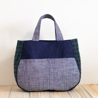Tote - Blue x Green Grid EH102