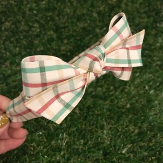 Green red check hair bow headband