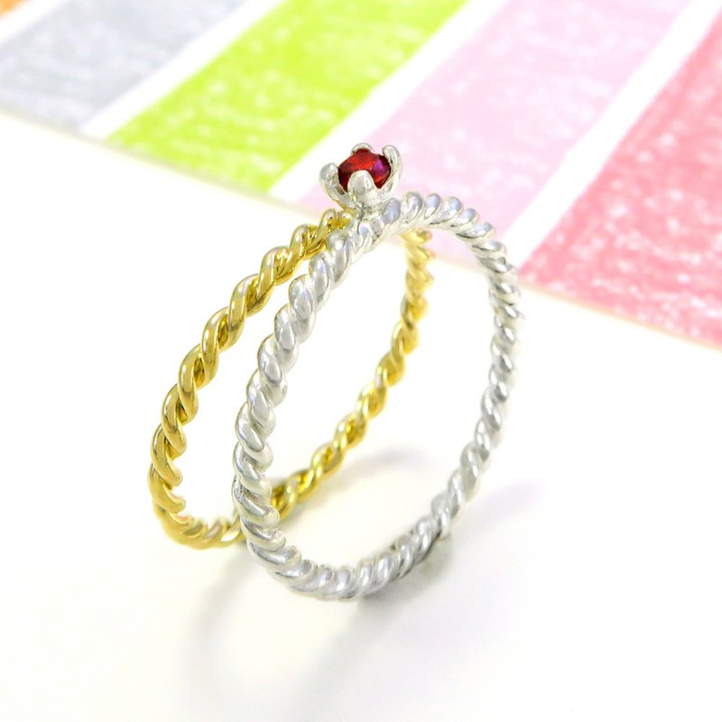 Ring twist small drill claw ring + twist ring sterling silver ring (double piece - optional color)